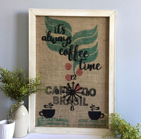 Framed Burlap Coffee Bean Bag Wall Hanging / Its Always Coffee