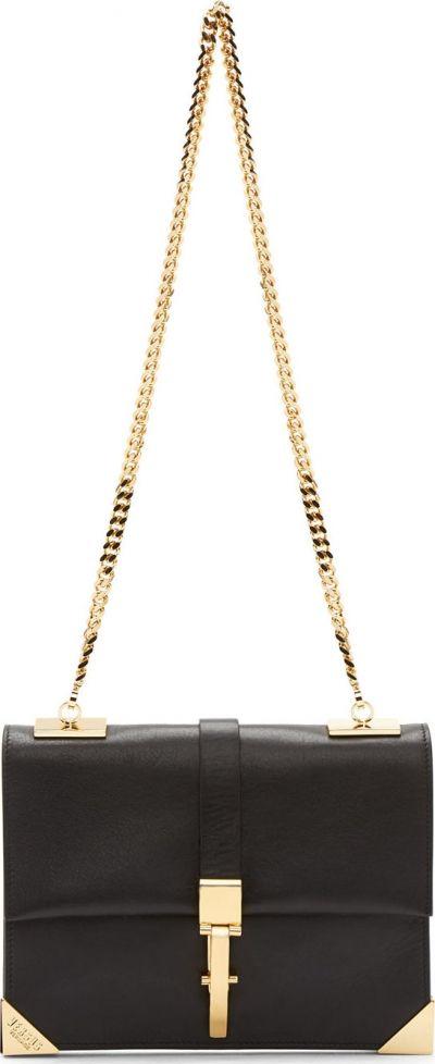 Black Shoulder Bag with Gold Hardware