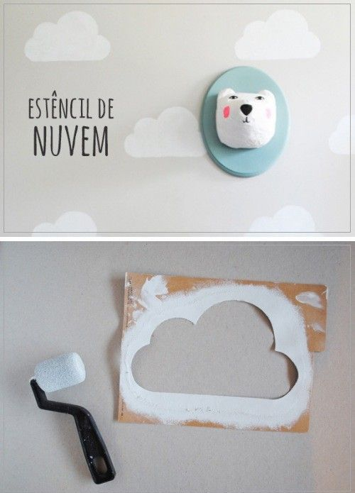 Cloud stencil and cartoon mounted polar bear head #kidsroom