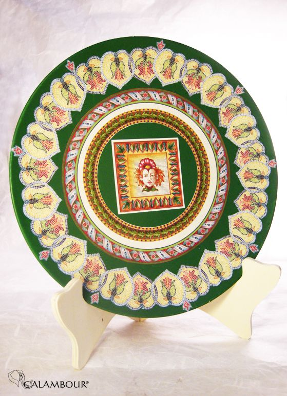 GREEN PLATE WITH MOSAICS - Green plate decorated with Calambour paper. /// PIATTO VERDE CON MOSAICI - Piatto, colore verde, decorato con la carta per il decoupage di Calambour http://www.calambour.it/en/our-papers/paper-for-classic-decoupage/ad.html#!AD_007