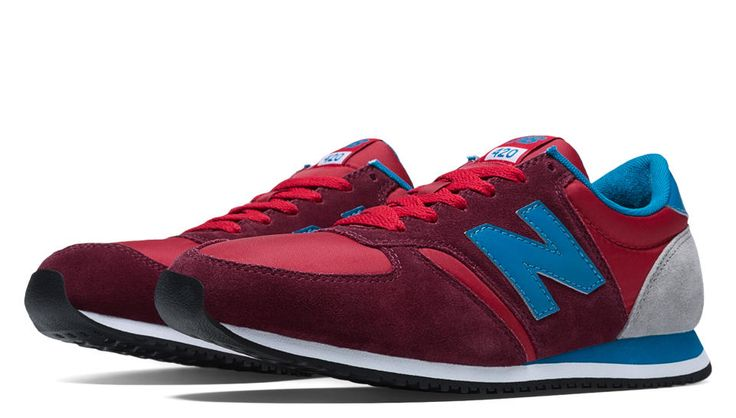 size 8.5 please New Balance 420, Burgundy with Blue
