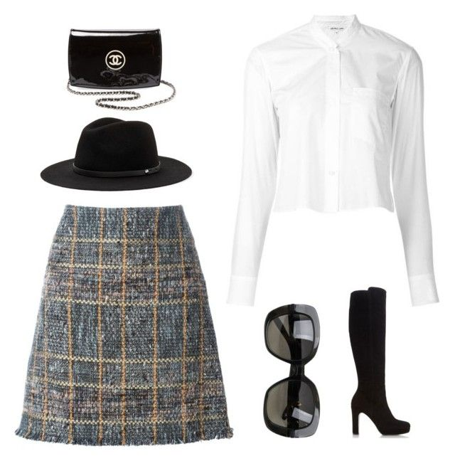 """""""Plaid"""" by thelomthethwa on Polyvore featuring Etro, Helmut Lang, Bottega Veneta, Dune and Chanel"""