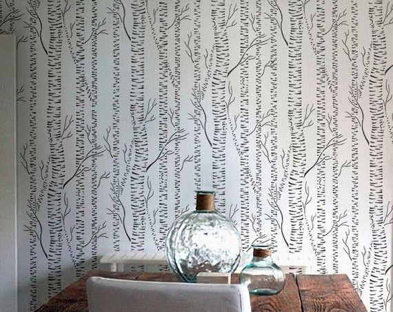 Tree STENCIL - Silver BIRCHES - Reusable Allover Forest Stencil - DIY Home Decor
