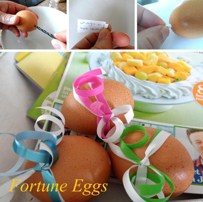 Maak zelf fortune eggs, net zoals fortune coockies, maar dan voor pasen.
