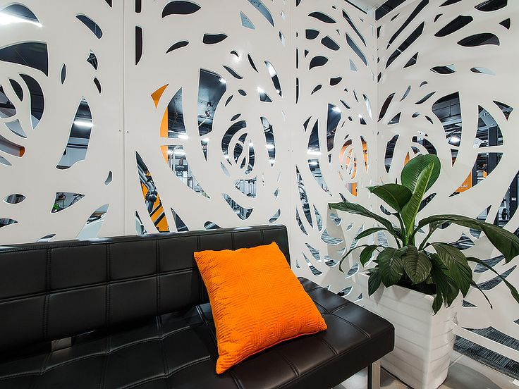 Kleencut decorative laser cut screen — Gives the users of the gym privacy from the main reception area