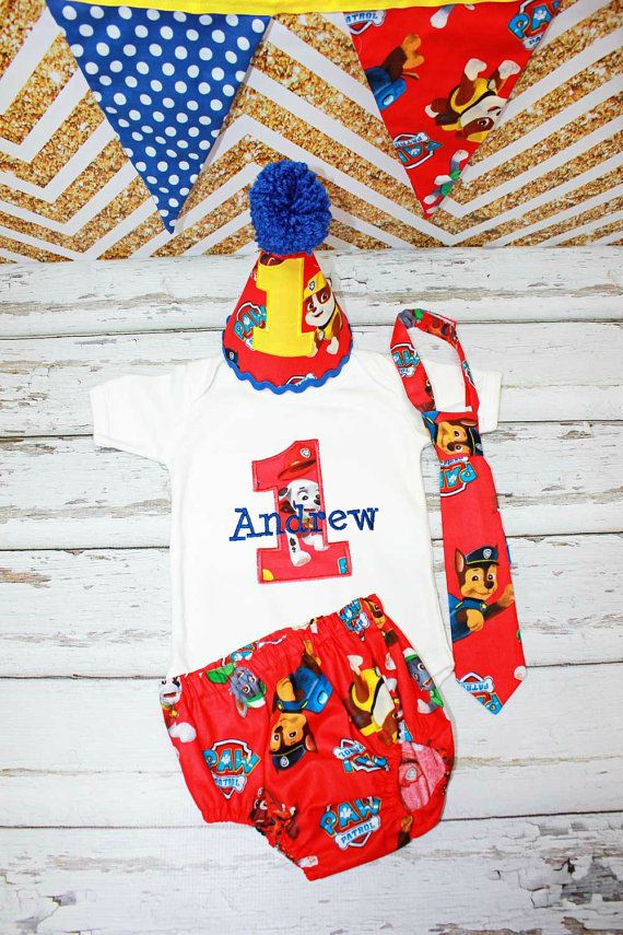 Paw Patrol Cake Smash with Birthday Hat,Paw Patrol Birthday Party,Boys First Birthday Outfit,Boys Birthday,Applique Embroidered Cake Smash