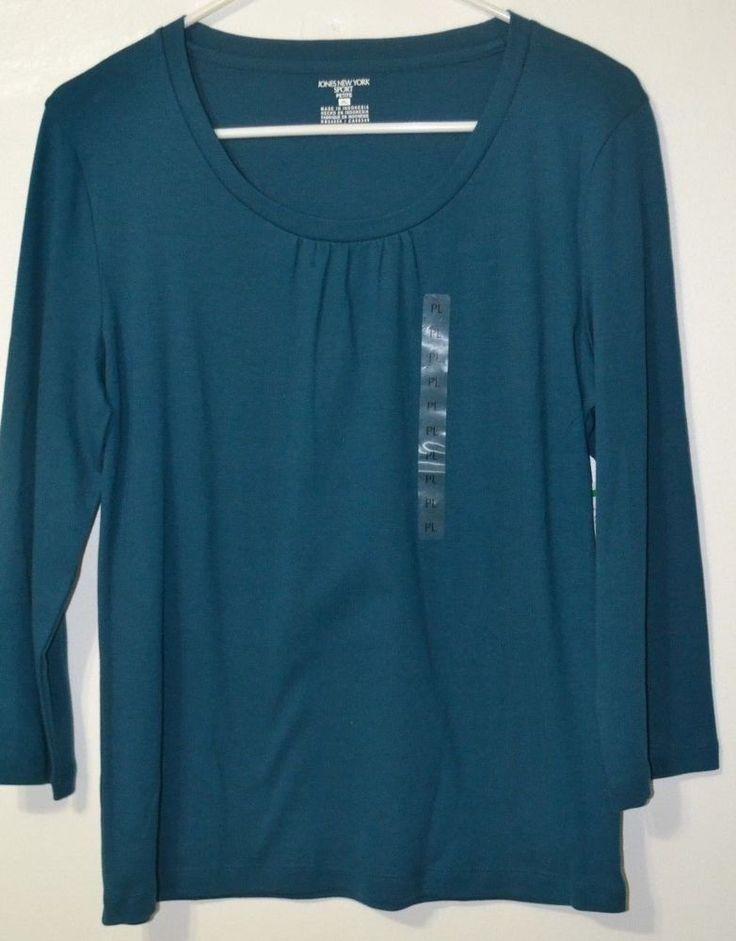NWT JONES NEW YORK Sport Petite Women's Long Sleeve Scoop Neck Shirt SIZE L PL  #JonesNewYork #KnitTop