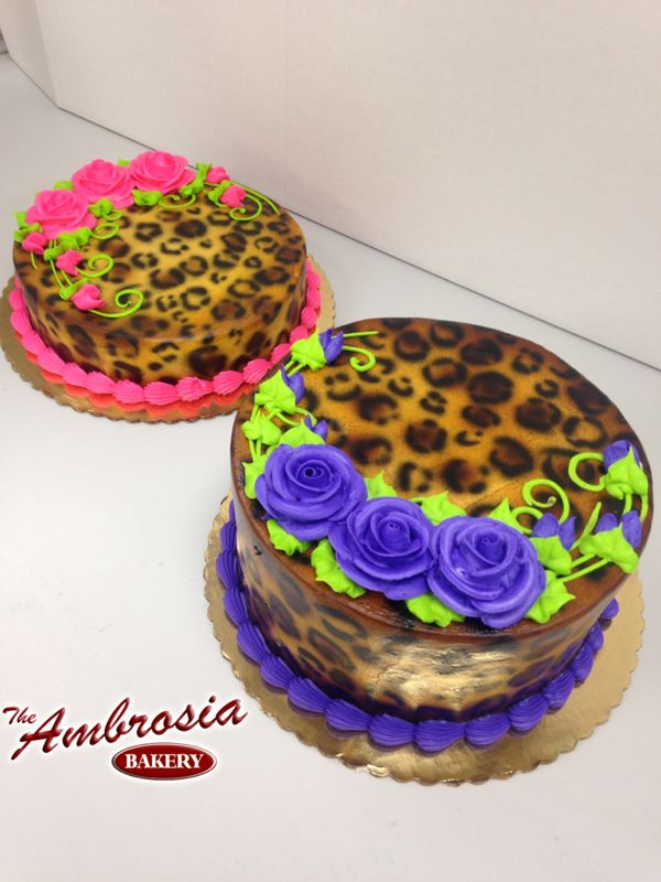 Airbrushed Leopard Print Cakes| The Ambrosia Bakery Cake Designs- Baton Rouge, La |
