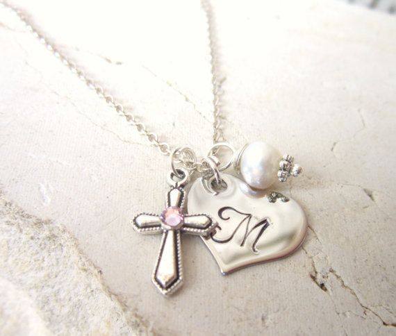Girl's Heart Initial & Pearl Charm Necklace. by JensBeadBox