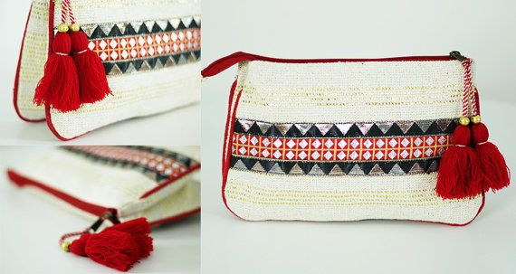Embrague bohemio embellecido. Bolso boho. Cartera por PennyLine