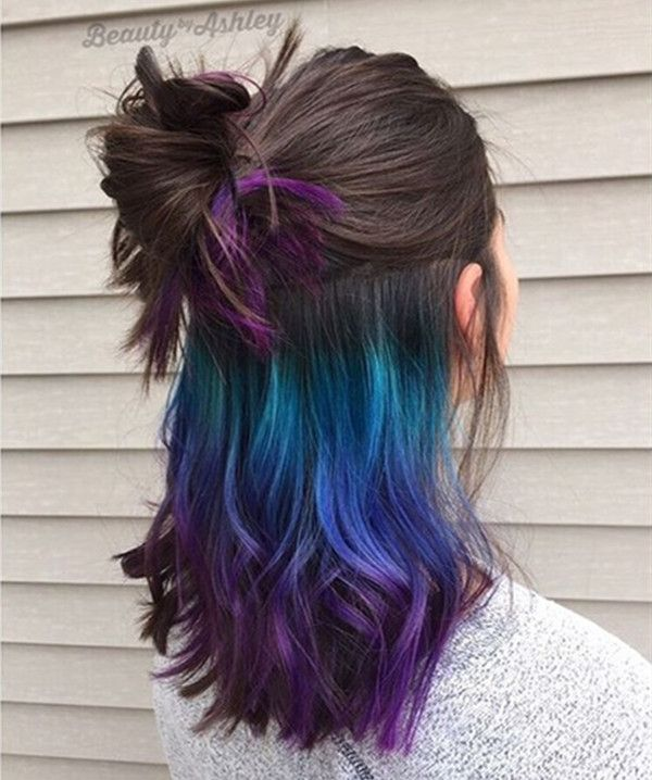 This galaxy hair color matches this hairstyle perfectly~ two modes with underlights