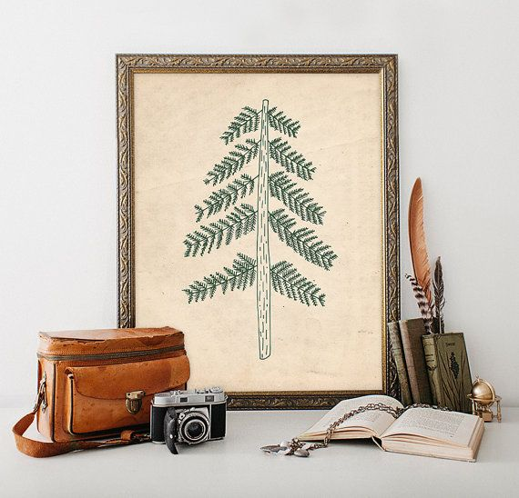 Pine Tree Printable 8x10 Instant Download by MossAndTwigPrints