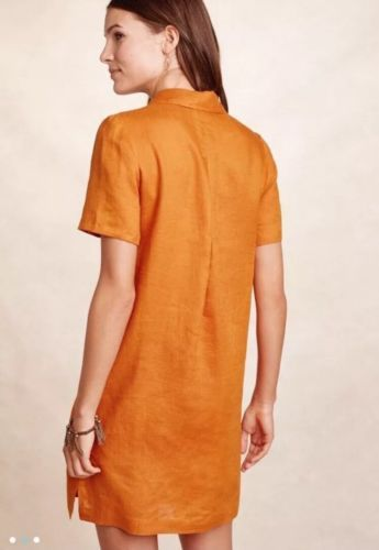21f0cb5869 NEW Anthropologie Lace Up Linen Dress Sz 0 XS Yellow Mango By Maeve ...