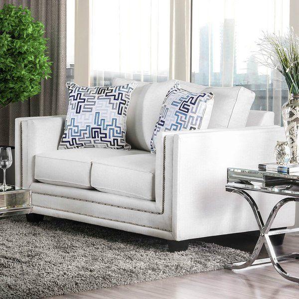 Landwehr Loveseat Love Seat White Fabric Sofa Furniture
