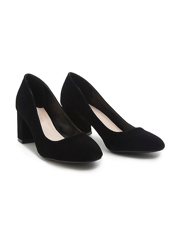 Velvet Block Heels, BLACK