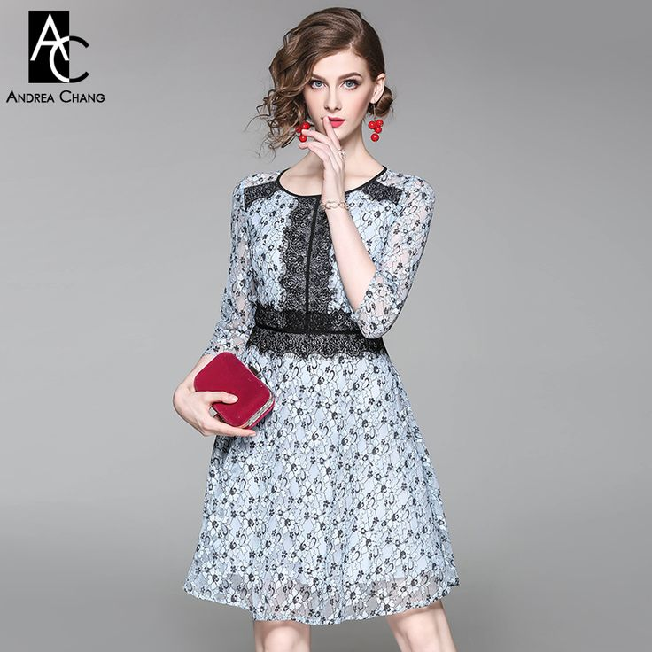 spring autumn woman dress floral pattern sky blue lace black lace patchwork  dress high quality fashion