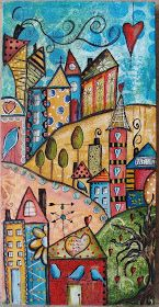 "Diane Salter's folk-artsy painting of houses and trees winding up a steep road, done during Jodi Ohl's ""Funky Little City Scapes"" online art class and posted to Diane's blog on September 12, 2013."