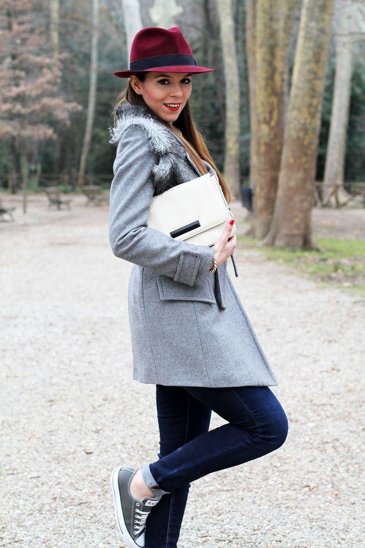 outfit look casual borsalino cappotto pinko grigio converse pelle borsa zara fashion blogger irene colzi irene closet sorriso