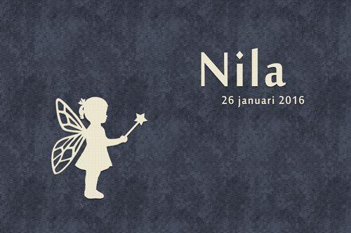 Geboortekaartje Nila - Pimpelpluis - https://www.facebook.com/pages/Pimpelpluis/188675421305550?ref=hl (# silhouet - meisje - fee - elfje - lief - origineel)