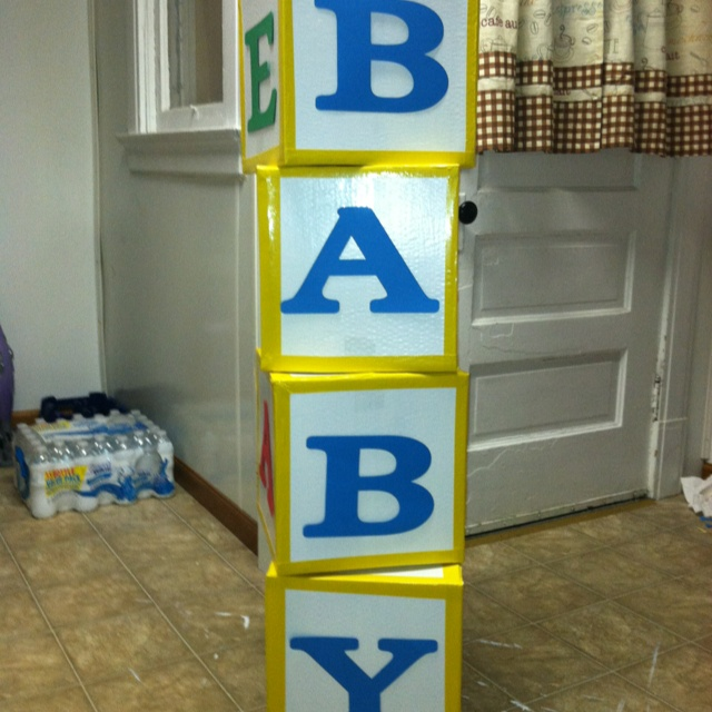 Baby Shower Mailbox Decorations ~ Baby blocks out of cardboard shower ideas