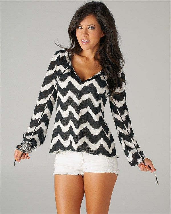 Black and White Chevron Style Tie Blouse- Love this website