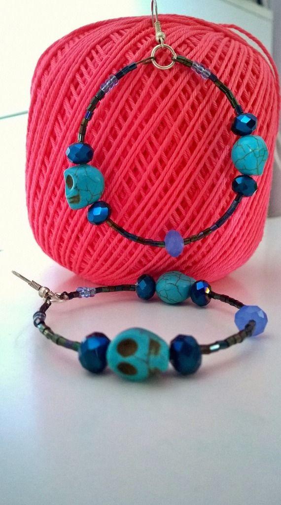Blue Skull Candy Circle Earring -10% discount! spedizioni gratuite verso l'Italia!