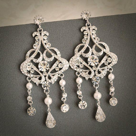 ESTHER, Victorian Style Wedding Bridal Earrings, Crystal and Pearl Chandelier Bridal Earrings, Wedding Earrings, Hollywood Glamour. $79.00, via Etsy.