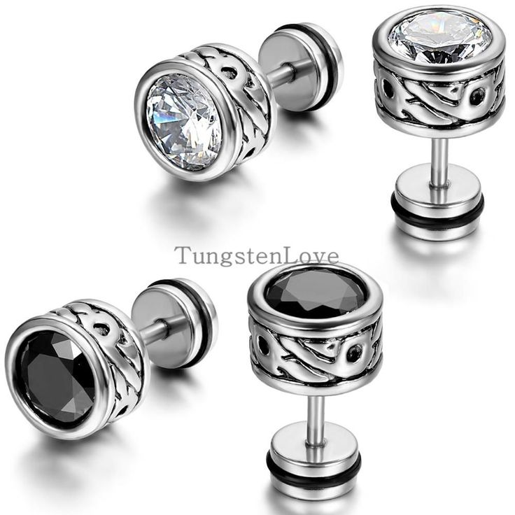 High Quality Cool Mens Earring Ear Stud Stainless Steel CZ Crystal Fake Plug 2 Color - Black & Silver