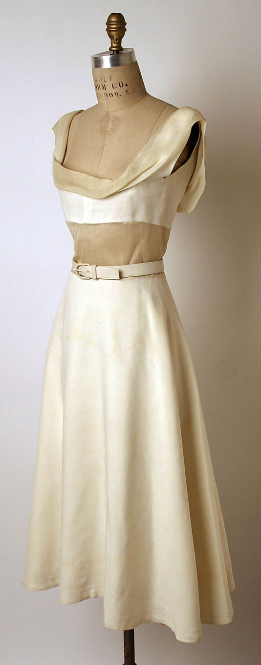 Dress, Evening  Madame Grès (Alix Barton)  (French, Paris 1903–1993 Var region)  Date: spring/summer 1950 Culture: French Medium: (a) linen, cotton (b) linen, leather.  Credit Line: Gift of Mrs. Byron C. Foy, 1955.  I LOVE the gentle drapery above the bustier!!!