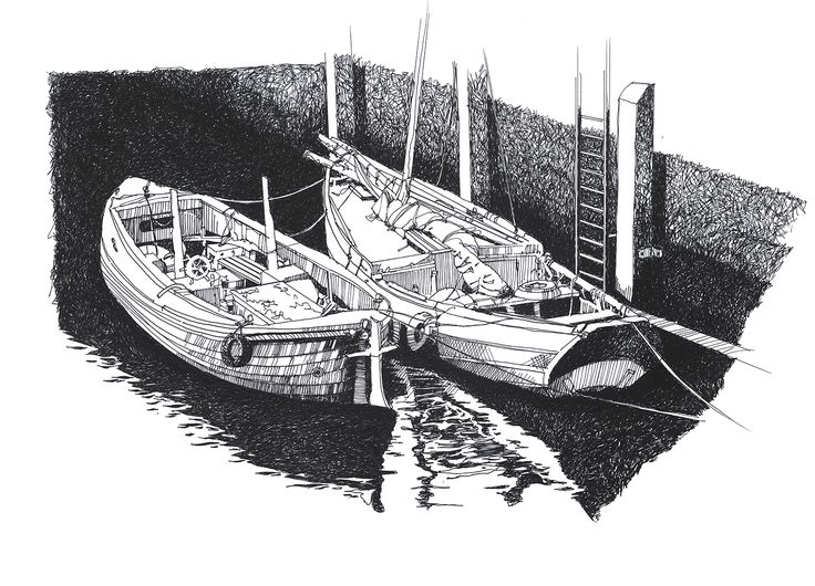 Ouseburn boats pen and ink