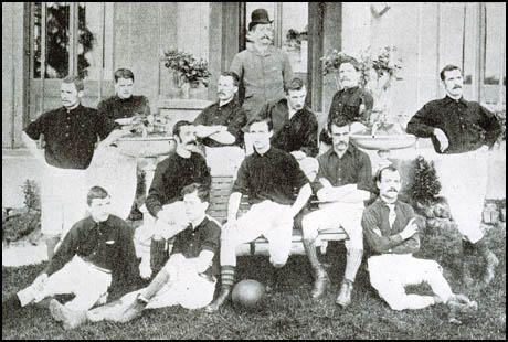 The Arsenal team in the 1888-89 season. Front (left to right): Morris, Humphrey Babour,J. M. Charteris. Seated: Brown, Peter Connolly, David Danskin. Standing: Richard Horsington, Wilson, Fred Beardsley, Joseph Bates, John McBean and William Scott.