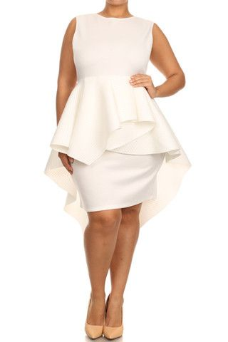 Plus Size Fashion, Glamorous Dip Hem Peplum Dress -> http://curvydivas.com/plus-size-bridal-dresses.html #plussizefashion #dress