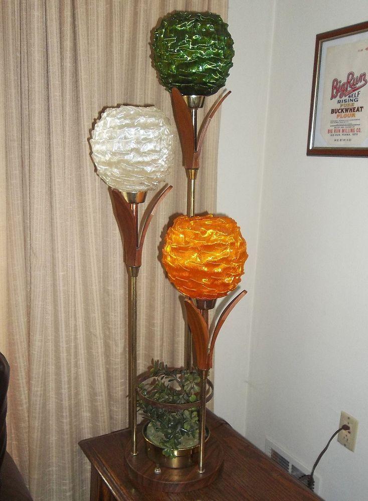 Vintage Mid Century Danish Modern Teak Spun Lucite Spaghetti Floor Or Table Lamp Ebay Mid