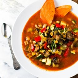 Roasted Vegetable Soup with BBQ beans on the side. vegan meal for a chilly fall night.