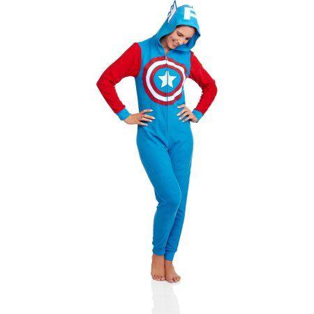 Captain America Women's Licensed Sleepwear Adult Onesie Costume Union Suit Pajama - Walmart.com