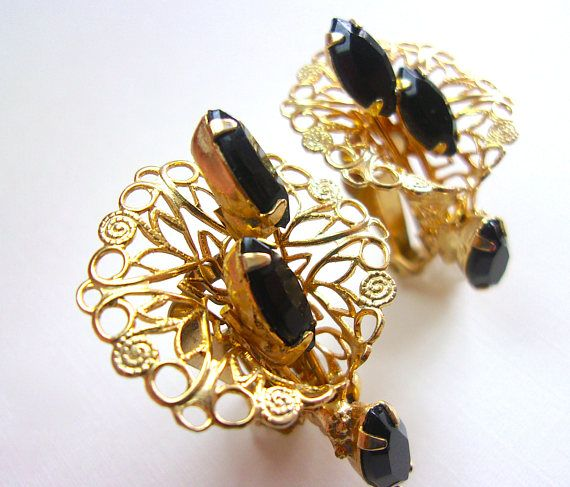 Black Rhinestone Filigree Earrings Flower Gold Tone Vintage