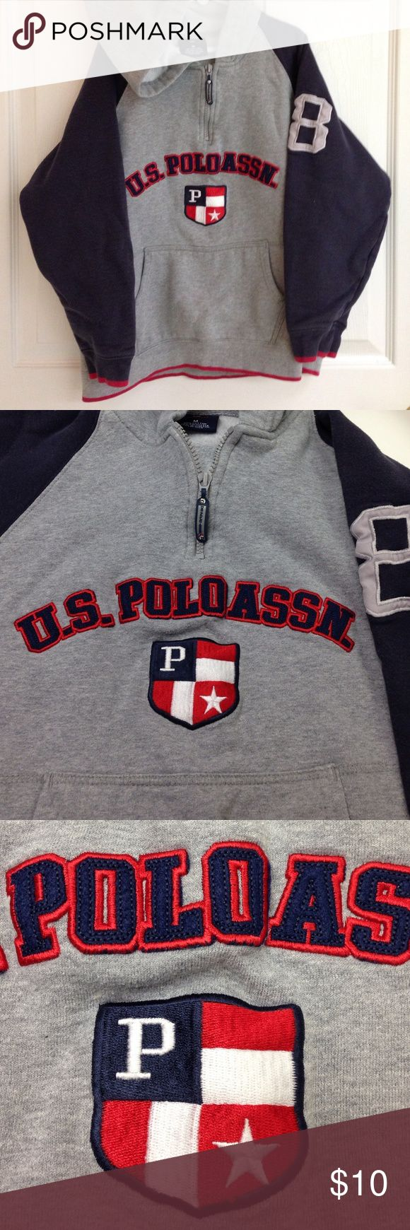 U.S. POLO ASSN Sweatshirt with Hood US Polo Assn hoodie sweatshirt with front zipper. Gray with blue and red. Blue on sleeves is slightly worn and faded but sweatshirt is in good condition. 80% cotton 20% polyester U.S. Polo Assn. Shirts & Tops Sweatshirts & Hoodies