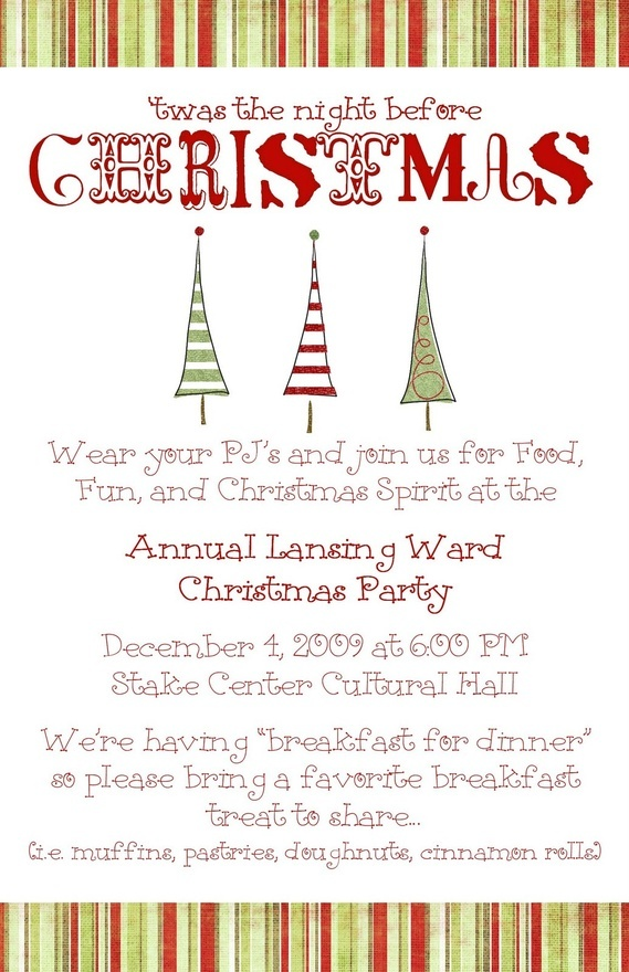 Christmas party ward invite holiday christmas pinterest ward christmas party relief for Christmas dinner invite templates