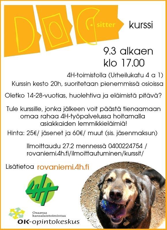 Dogsitter kurssi alkaa 9.3 - Rovaniemen4 H-yhdistys