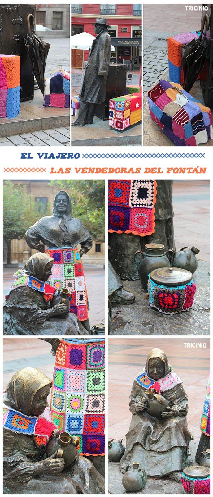 Actuación en las esculturas urbanas de Oviedo (año 2014) (parece que ellas también tuvieron algunos problemillas con los permisos)