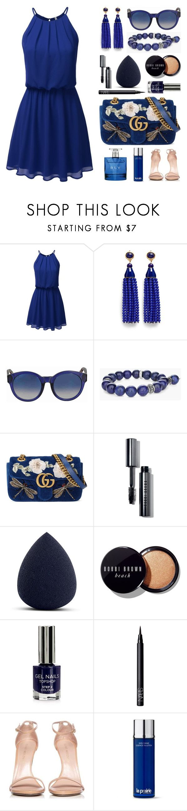 """Rule in Blue"" by wambui ❤ liked on Polyvore featuring Kenneth Jay Lane, Gucci, Chico's, Bobbi Brown Cosmetics, My Makeup Brush Set, Topshop, NARS Cosmetics, Stuart Weitzman, La Prairie and Bulgari"