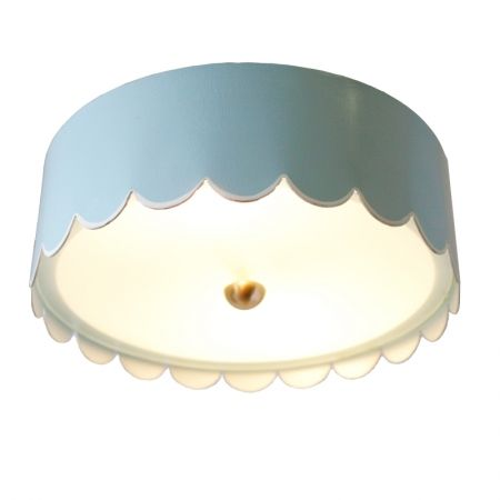 The Scalloped Flush Mount by Coleen and Company, available in custom sizes and colors.  http://coleenandcompany.com/the-scalloped-flush-mount