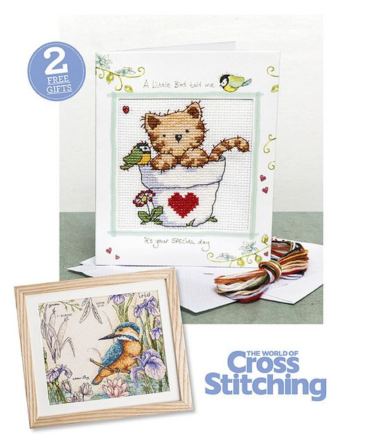 TWO FREE GIFTS – Make this cutest-ever kitten card with our @Helen Read Cuppleditch stitch kit, plus a luxury kingfisher wildlife chart – two fab #freebies with issue 214 of The World of Cross Stitching magazine, out now!
