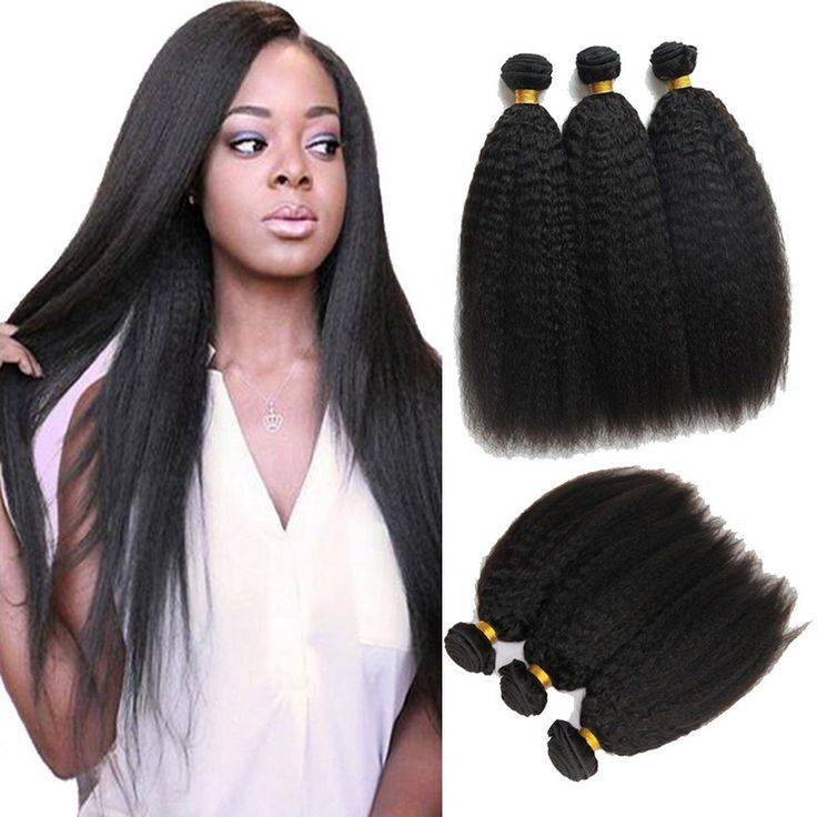 Black Brazilian Virgin Afro Kinky Straight Real Human Hair Weave Extensions Weft