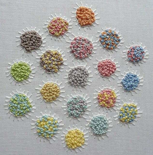 """French knots and buttonhole stitch -These would look cute embroidered with stems to make a """"bouquet"""" of flowers."""