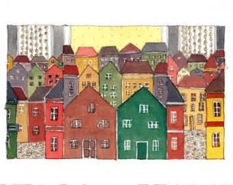 Mediterranean Town In The Sun, Kitchen Art, Cityscape  Watercolor Painting ,  Mixed Media Painting.