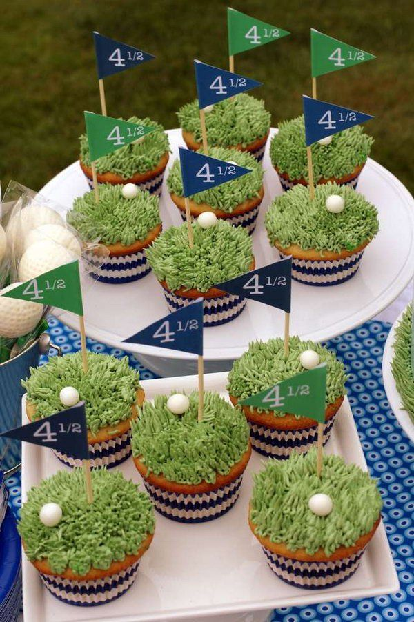 Golf Cupcake Party Idea. DIY this master's golf party with golf styled cupcakes. Cover the cupcake with a layer of green vegetable and add a golf ball on it. Insert the flag on the cupcake. It's so fantastic to DIY this master's golf party by putting together all the cute golf cupcakes.