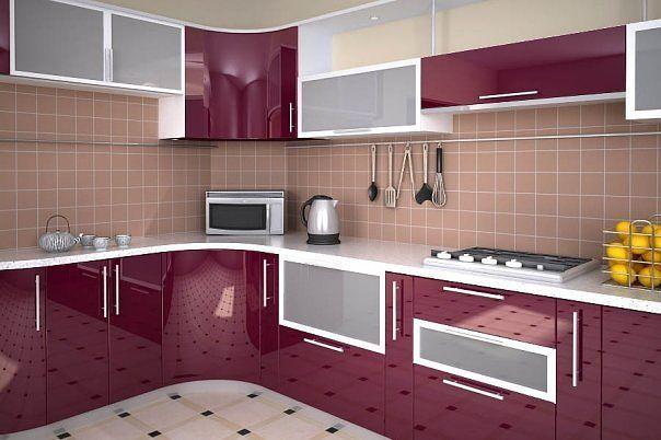 Кухня угловая пурпурная