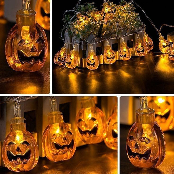 $19.18 - About 9' - Pumpkin String Lights 30 LEDs 10.33 ft Halloween Jack-O-Lantern Pumpkin Lights for Halloween Christmas Decorations - Battery Operated. The Jack-O-Lantern Pumpkin lights are made of a sturdy plastic so don`t worried about breaking them.   eBay!