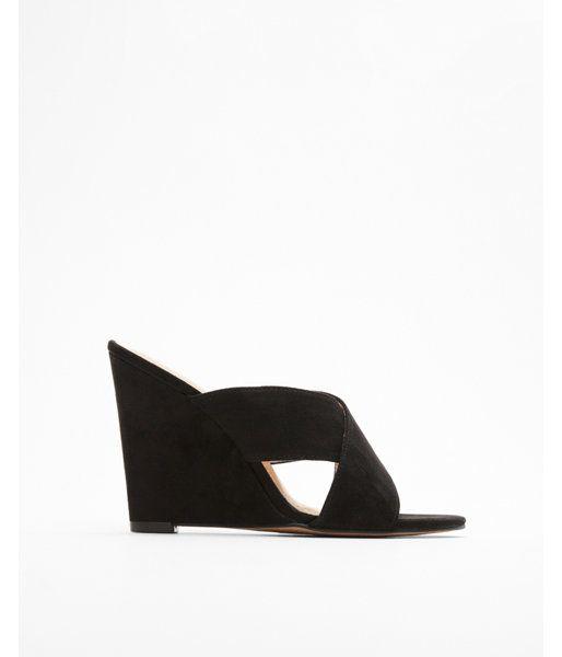 Crisscross Wedge Sandals Black Women's 10